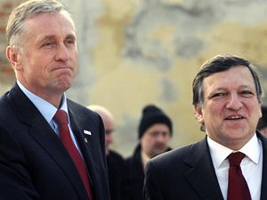Mirek Topolánek vítá v Praze předsedu Evropské komise José Manuela Barrosa